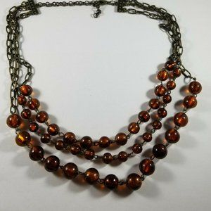 Unbranded Orange Glass Triple Chain Necklace